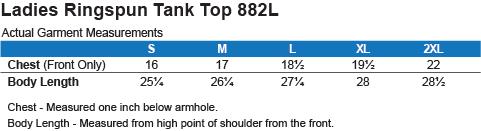882L Anvil Ladies' 100% Ringspun Cotton Tank Top Size Chart