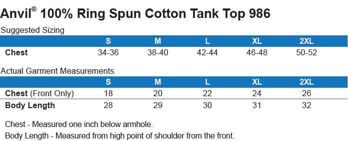 986 Anvil 100 % Ringspun Cotton Tank Top Size Chart