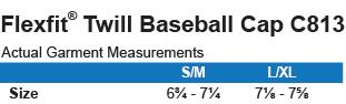 C813 Port Authority Flex Fit Twill Baseball Cap Size Chart