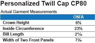 CP80 Port & Co.Twill Cap Size Chart