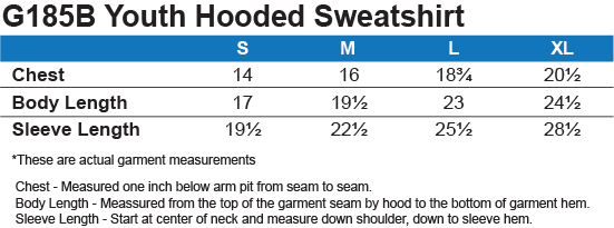 G185B Gildan Youth Pullover Hoodie Size Chart