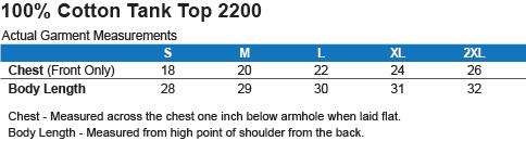 G220 Gildan 100 % Cotton Tank Top Size Chart