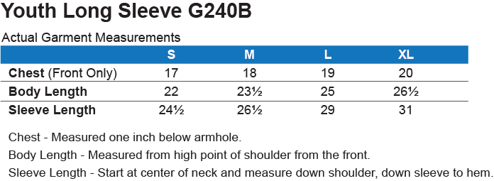 G240B Gildan Youth LS T - Shirt Size Chart
