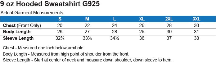 G925 Gildan Heavyweight Pullover Fleece Sweatshirt Size Chart