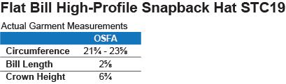 STC19 Sport-Tek Flat Bill High-Profile Snapback Hat Size Chart