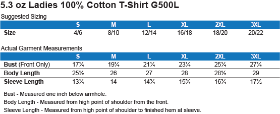 G500L Gildan Ladies' 5.3 oz. T-Shirt Size Chart