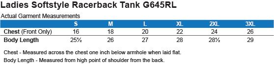 G645RL Gildan Ladies' Softstyle Racerback Tank Size Chart