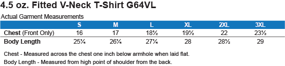 G64VL Gildan Ladies' Fitted Softstyle 4.5 oz V-Neck T-Shirt Size Chart